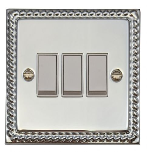 G&H MC3W Monarch Roped Polished Chrome 3 Gang 1 or 2 Way Rocker Light Switch
